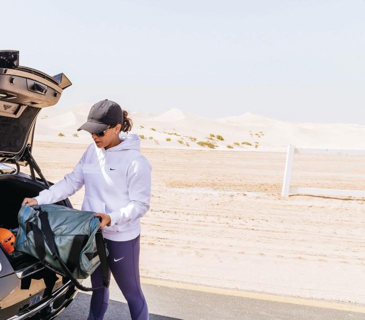 Hanady Alhashmi training in the desert
