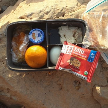 box of snacks for hiking